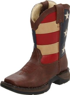 "Durango  BT245-Flag Boot Durango. $64.99. Rocker heel 1 1/8"". Square Toe. Synthetic leather with Union flag shaft. unknown. Lil' Durango non-marking outsole. Double row weltch stitch"