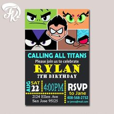 Teen Titans Go Invitation Birthday Party Card Digital Invitation $9.19 USD