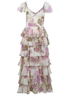Flamenco Maxi Dress from Miss Selfridge - Lovely modern tea dress in a light and dainty synthetic fabric