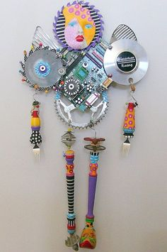 I AM A Warrior recycled found object sculpture mixed media. via Etsy.