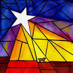 Stained glass art ~ I love this simple manger scene - would be so lovely made on vellum Stained Glass Quilt, Stained Glass Projects, Stained Glass Patterns, Stained Glass Windows, Window Glass, Sea Glass Art, Mosaic Glass, Fused Glass, Christmas Art Projects