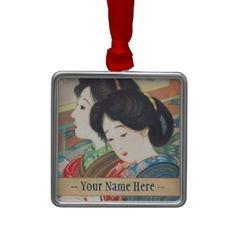 Sengai Igawa Two Bijin japanese girls oriental art Christmas Ornament #japan #japanese #vintage #gift #oriental #fuji #customizable #fineart #shopping #girls #lady #woman #geisha