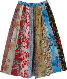 Colorful Vintage Multi Print Long Skirt TLB (Patchwork, Printed) Boho Skirt with Summer Friendly Prints - A long skirt with a striking ensemble of prints with flattering detail Denim Skirt Outfits, Patchwork Dress, Boho Skirts, Vintage Skirt, Ladies Dress Design, Diy Clothes, Dress Skirt, Ideias Fashion, Cool Outfits