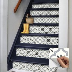 Tile Decals, Wall Tiles, Vinyl Decals, Black And White Stairs, Black And White Tiles, Tile Steps, Stair Stickers, Stair Risers, Stair Railing