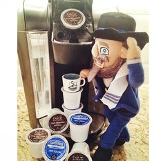 """I guess """"he-brewed"""" himself a cup of cocoa. Photo by @cherylped"""