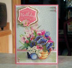 Handmade Birthday Card using Hunkydory Fabulous Florals Deco-Large kit.