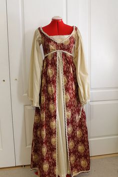 Italian Renaissance Gown, Red and Cream, Two-piece empire waist, ready-to-ship. $85.00, via Etsy.