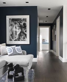 oil blue living room in art deco style with white furniture and large black frame painting on the wall depicting women in various states by Living Room Designs, Living Room Decor, Blue Hallway, Hague Blue, House Blinds, Blue Walls, Dark Walls, Room Colors, Colours