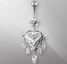The cutest diamond, heart belly button ring, deff a must have!