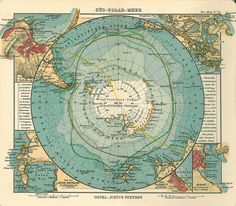 1906 map by German publisher Justus Perthes showing Antarctica encompassed by an Antarktischer (Sudl. Eismeer) Ocean – the 'Antarctic (South Arctic) Ocean'. Vintage Maps, Antique Maps, Map Globe, Old Maps, Historical Maps, Plans, E Bay, Art Prints, Canvas Prints