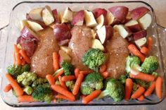 Use this recipe to easily make a baked chicken main dish with potatoes, broccoli, and Italian dressing mix.                   Baked Italian Chicken Dinner Recipe  Ingredients  cooking spray  1 pound skinless, boneless chicken breast, cut into cubes  1 (10 ounce) package frozen