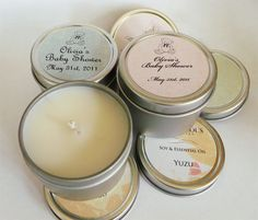 Baby Shower Favors Soy Candle Tin by Veris by VerisCandlesandBath, $0.75