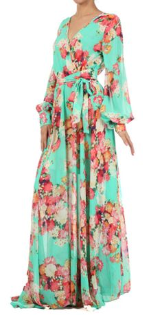 MINT GREEN FLORAL FAUX WRAP LONG SLEEVE MAXI DRESS- NWOT #SEXYDIVA #Maxi