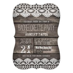 bachelorette party country wedding invitations White Lace; Rustic Brown Wood Bachelorette Party Card