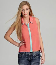Takara Contrast Button-Front Top | Dillard's Mobile