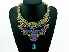 Colorful Bib Statement Necklace Chunky Beadwork by eBijoux on Etsy, $21.99