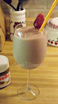 Strawberry Nutella Smoothie - 1/2 cup plain Greek yogurt 1/2 cup low-fat milk or almond milk 10 frozen strawberries 2 tablespoons Nutella 1 tablespoon honey, or to taste and try with almond milk, peanut butter, and stevia