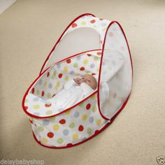 KooDi PopUp Portable Baby Travel Bassinette Cot - Polka Dot Red