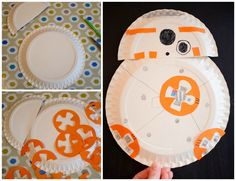 Star Wars party crafts: BB8 paper plate craft