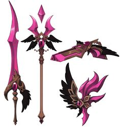 This makes me think of the pink power ranger Anime Weapons, Fantasy Weapons, Fantasy Sword, Sword Design, Chibi, Weapon Concept Art, Anime Outfits, Girl Cartoon, Power Rangers
