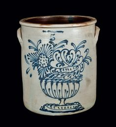 "Rare Five-Gallon Stoneware Crock, Stamped ""WHITES BINGHAMTON,"" NY State origin, circa 1860."
