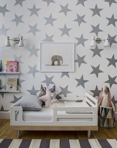 Modern, Bold, Gender Neutral Toddler Room - love the oversized star decals!