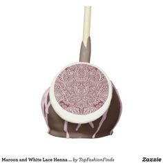 Maroon and White Lace Henna Design Cake Pops