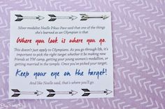 Free printable young women's lesson or camp handout about keeping your eye on the target from playpartypin.com