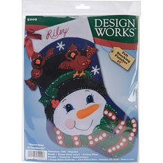 Tobin Stocking Felt Applique Kit, Snowman and Cardinals