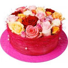 Gezien op Beslist.nl: Bloementaart Mix rozen Ø 17 cm