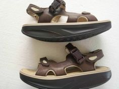 MBT Kisumu 2 Brown LEATHER Sandals Adjustable Velcro Size US 9 = FREE shipping