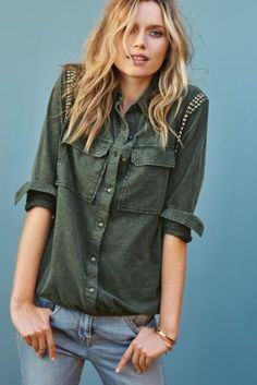 Green Washed Embellished Sleeve Shirt