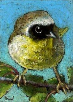 WARBLER CHICK original oil pastel bird painting ACEO