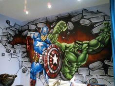 I really wish we could do this in the apartment :( children / teen / Kids Bedroom Graffiti mural Avengers Room, Marvel Avengers, Bedroom Art, Kids Bedroom, Bedroom Ideas, Teen Boy Bedding Sets, Marvel Bedroom, Superhero Room, Graffiti Murals