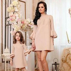 New Mother Daughter Dress Pretty Mummy and Me Christmas Dress Qulity Solid Flare Sleeve Knee-length Dress Fashion Family Clothes Mother Daughter Matching Outfits, Mother Daughter Fashion, Mommy And Me Outfits, Family Outfits, Kids Outfits, Family Clothes, Baby Outfits, Mommy And Me Dresses, Mom Daughter