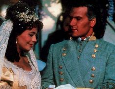 Lesley-Anne Down as Madeline and Patrick Swayze as Orry on North and South.
