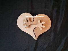 Portes alliances 3D original, en bois naturel, à décorer soi même