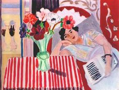Reading  Woman with Anemones, 1937, by Henri Matisse (French, 1869–1954).