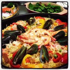 Seafood Paella   the craving came when the stall owner sold out his last gigantic pan of 80 servings.  I grabbed whatever avail in kitchen and whipped up a paella. *happy*