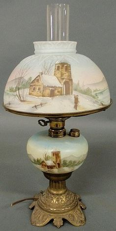 Victorian Oil Table Lamp Having Matching Shade And Base, Depicting A Winter Scene With Buildings And Figures - American   c.1876-1925  -  Prices4Antiques.com