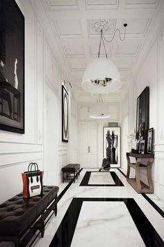 tumblr_n3ygofEI5c1rolzgko1_500 hall branco e preto  p&b piso mármore