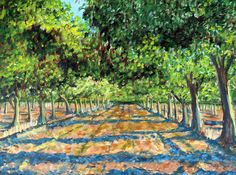 Walnut Orchard Art Print featuring the painting Summer Orchard by Cheryl Wells