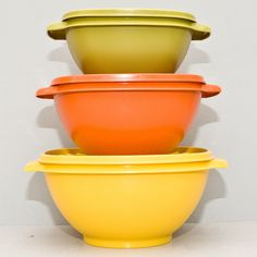 Vintage 1980s Tupperware Servalier Harvest Bowls set of 3 with lids. $20.00, via Etsy. My mom still has these, too.