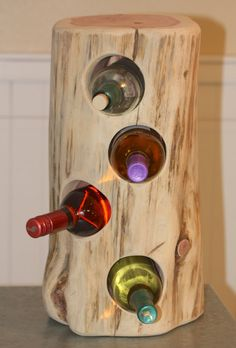"""Rustic Wine Holder, cedar tree stump, holds 4 bottles, approx 10"""" - 12"""" in diameter, and 18"""" - 20"""" in height, can sit on counter"""
