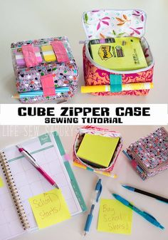 Sewing Patterns Free Sewing tutorial: Cube zipper pouch – Sewing - These cube zipper cases are the cutest! And they're the perfect size to hold a stack of Post-It notes, which might be one of my favorite back-to-school supplies ever. Easy Sewing Projects, Sewing Projects For Beginners, Sewing Hacks, Sewing Tutorials, Sewing Tips, Sewing Ideas, Bags Sewing, Fabric Sewing, Bag Tutorials