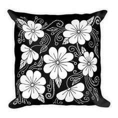 Decorative Pillow - Pillow - Pillow Cover - Throw Pillow - Accent Pillow - Black and White Floral Pillow