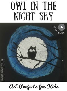 Art Projects for Kids: Halloween Owl in the Night Sky - Art Education - halloween art Halloween Kunst, Halloween Art Projects, Fall Art Projects, Halloween Artwork, Halloween Owl, School Art Projects, Projects For Kids, Kindergarten Art, Preschool Art