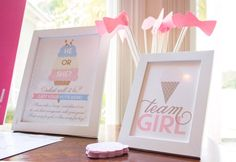 Team girl printables from Ice Cream Social Gender Reveal Party at Kara's Party Ideas. See more at http://karaspartyideas.com!