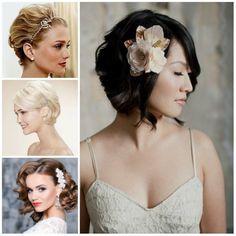 81+ Beautiful Wedding Hairstyles for Elegant Brides in 2020   Pouted.com Soft Curls Short Hair, Short Hair Updo, Short Wedding Hair, Short Hair Styles, Short Hair Brides, Wedding Hairstyles For Women, Braided Hairstyles For Wedding, Bridal Hairstyles, Bohemian Short Hair