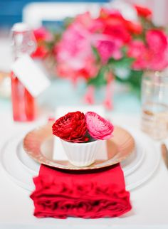 Rue Magazine (May 2012 Issue). Photography by Lisa Lefkowitz. Event Design by Bustle Events. Food by Batter Bakery. Florals by Max Gill Design. Pink Table Settings, Table Place Settings, E Design, Event Design, Pin Up, Red Wedding, Wedding Colors, Wedding Decor, Wedding Photos